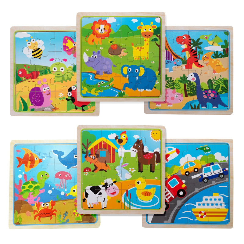 Eliiti Wooden Jigsaw Puzzle Set for Toddlers Kids 3 to 5 Years Old Farm Safari Vehicles Insects Dinosaurs Sea Animals