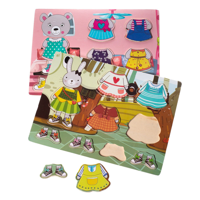Eliiti Wooden Peg Dress Up Puzzle Set for Toddlers Girls Kids 2 to 4 Years Old Rabbit & Bear
