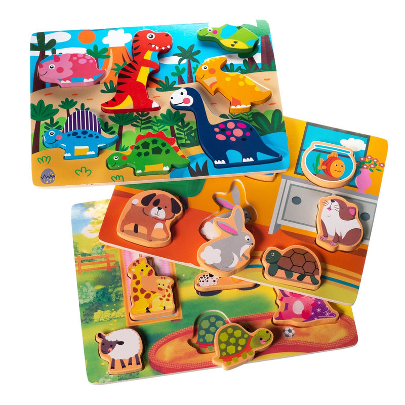 Eliiti Wooden Chunky Puzzle Set for Toddlers Kids 2 to 4 Years Old Dinosaurs Farm Animals Pets