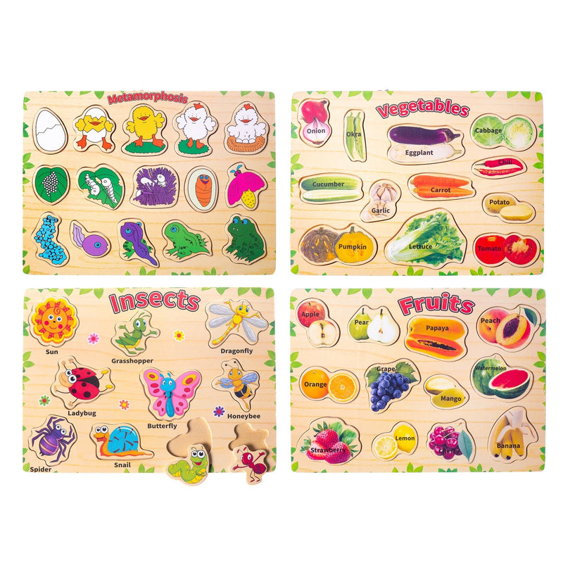 Eliiti Wooden Peg Puzzle Set for Toddlers Kids 3 to 6 Years Old Insects Fruits Vegetables Metamorphosis