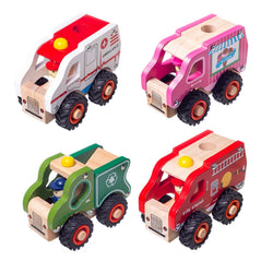 Eliiti Wooden Vehicles Toys Set for Toddlers Boys Kids 3 to 6 Years Old Ambulance Trash Truck Fire Engine Ice Cream Truck