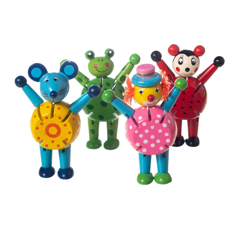 Eliiti Wooden Flexible Figures Toys Set for Toddlers Kids 3 to 5 Years Old Ladybug Frog Clown Mouse