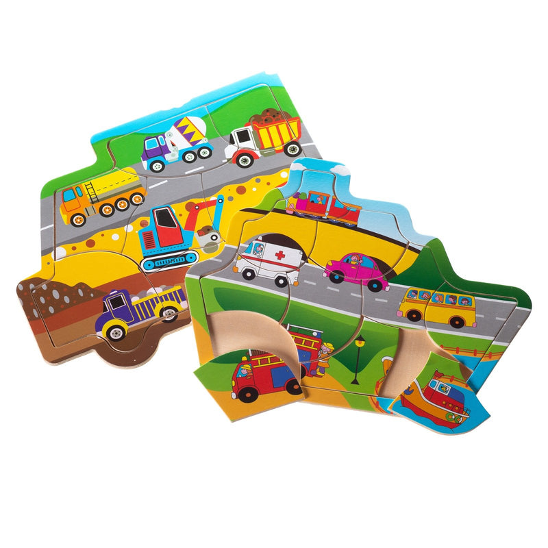 Eliiti Wooden Jigsaw Puzzle Set for Toddlers Boys Kids 2 to 4 Years Old Vehicles Construction