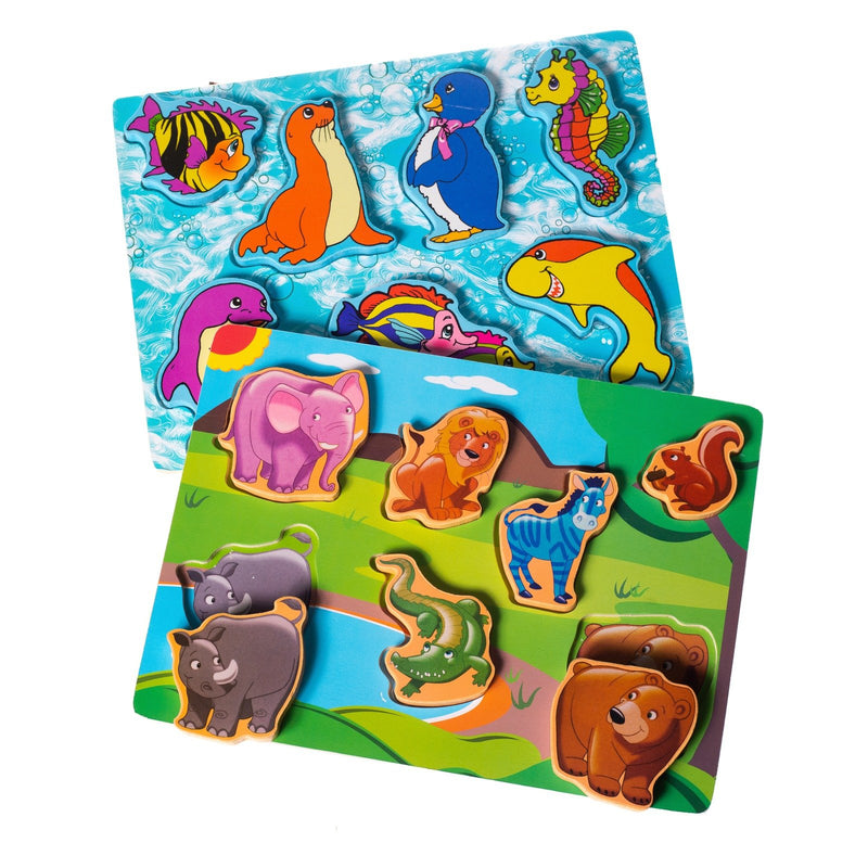 Eliiti Wooden Chunky Puzzle Set for Toddlers Kids 2 to 4 Years Old Safari Sea Animals