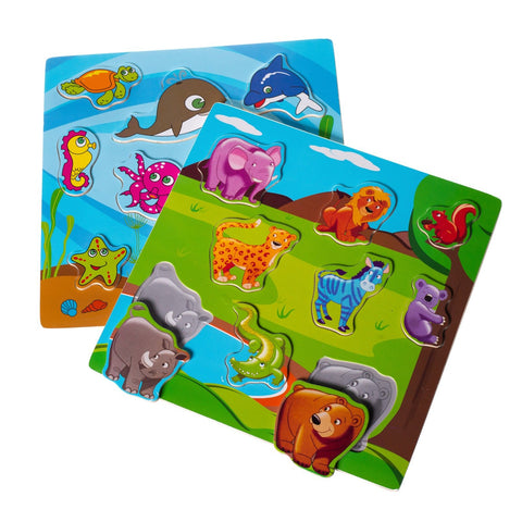 Eliiti Wooden Peg Puzzle Set for Toddlers Kids 2 to 4 Years Old Safari Sea Animals
