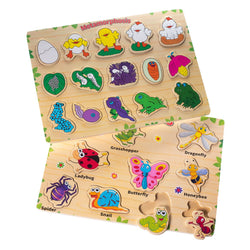 Eliiti Wooden Peg Puzzle Set for Toddlers Kids 3 to 6 Years Old Insects Metamorphosis