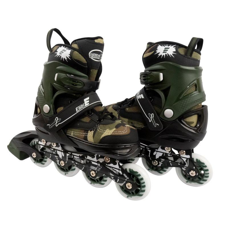 Eliiti Adjustable Kids Inline Skates for Girls and Boys Size 13.5J to 9, Camouflage