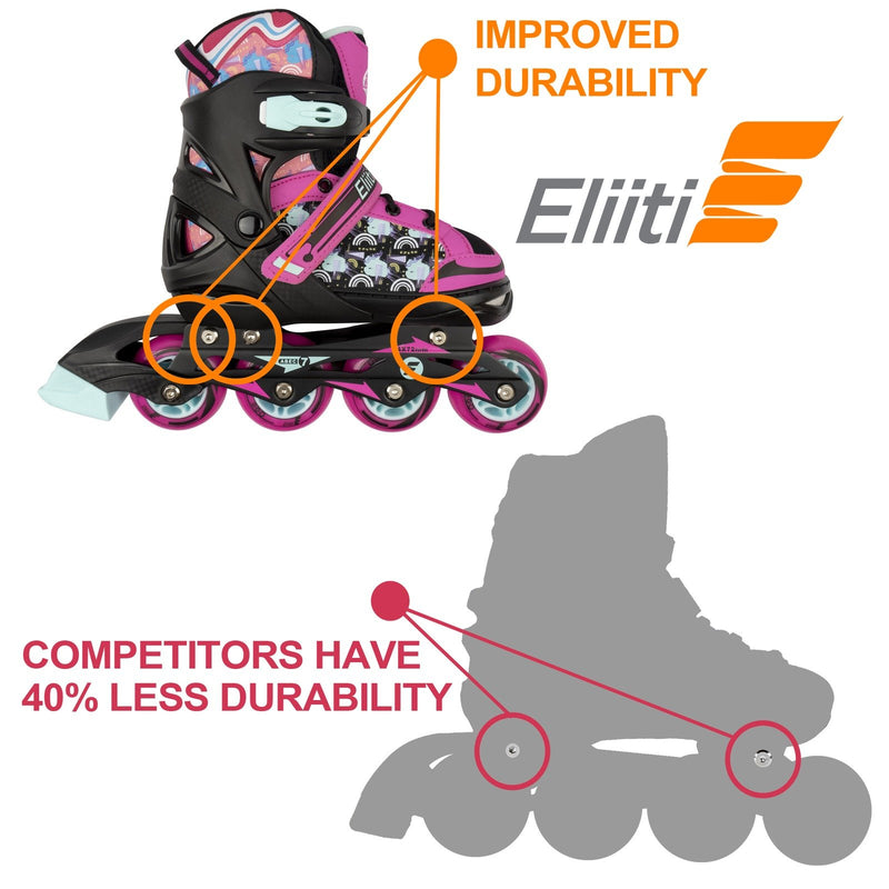 Eliiti Adjustable Kids Inline Skates for Girls and Boys Size 13.5J to 9