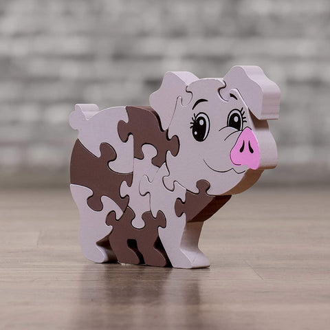 Elementary Wooden Jigsaw Puzzles Pig Shape Classic Educational Developmental Learning Toy for Boys