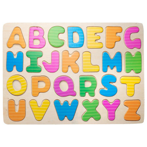 Eliiti Wooden Peg Puzzle for Kids 4 to 6 Years Old Alphabet 26 Pcs