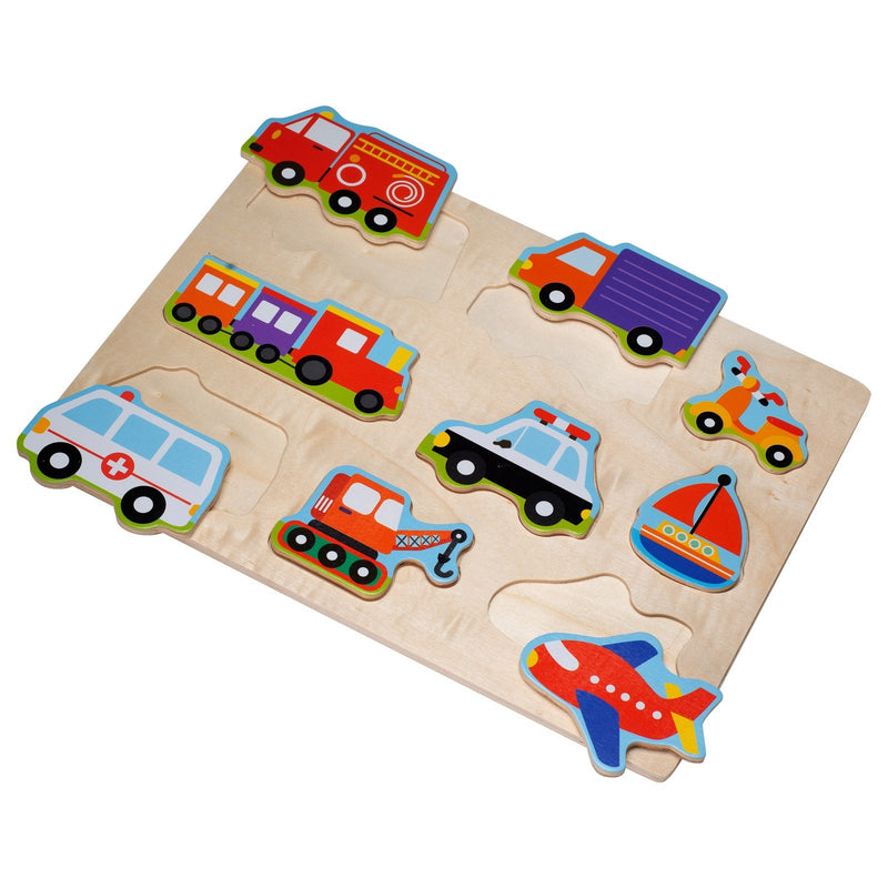 Eliiti Wooden Peg Puzzle for Toddlers Kids 2 to 4 Years Old Vehicles 9 Pcs