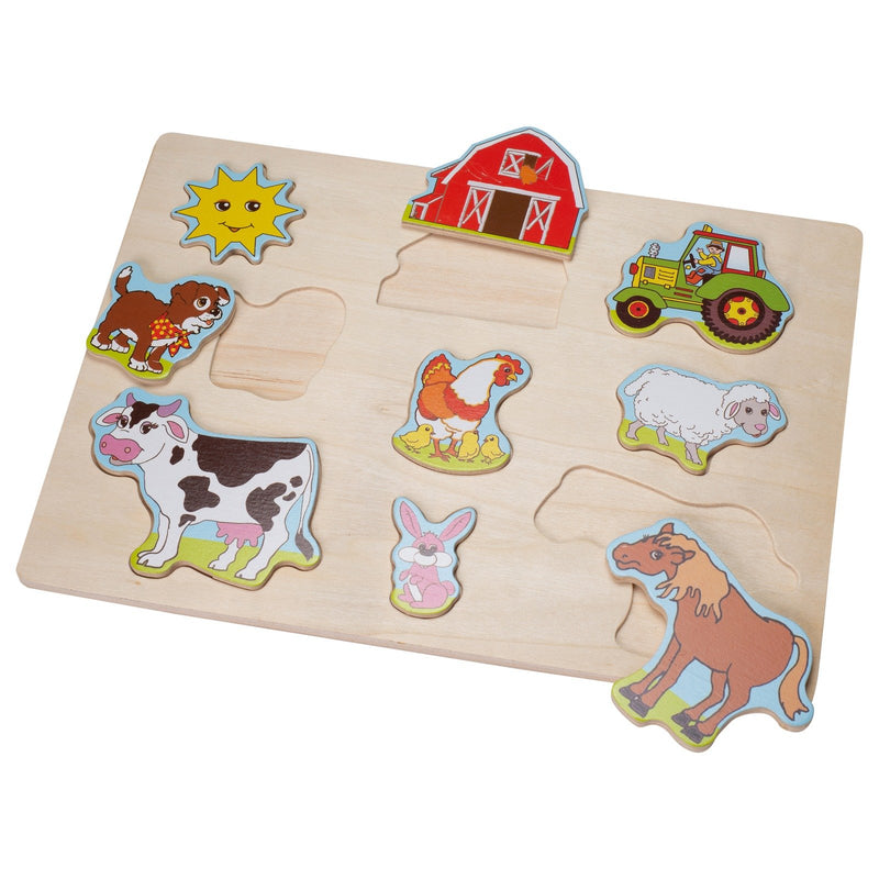 Eliiti Wooden Peg Puzzle for Toddlers Kids 2 to 4 Years Old Farm Animals 9 Pcs