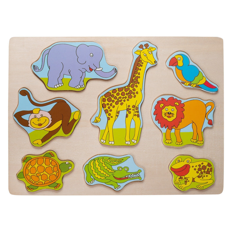 Eliiti Wooden Peg Puzzle Set for Toddlers 2 to 4 Years Old Vehicles Farm Dinosaurs Safari Animals