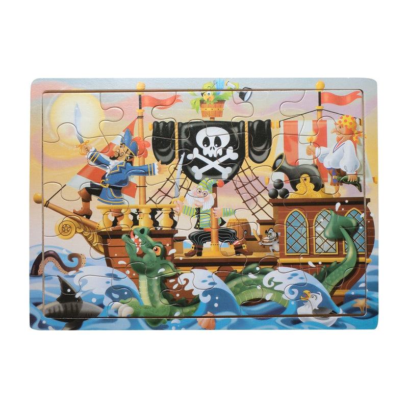 Eliiti Wooden Jigsaw Puzzle for Toddlers Boys 3 to 5 Years Old Pirate Ship 25 Pcs
