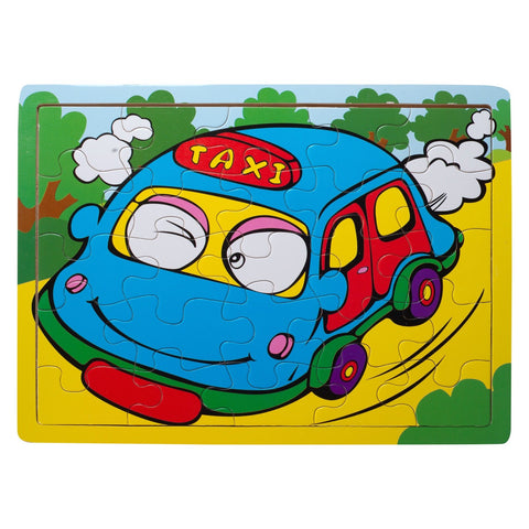 Eliiti Wooden Jigsaw Puzzle for Toddlers Boys 3 to 5 Years Old Taxi 25 Pcs