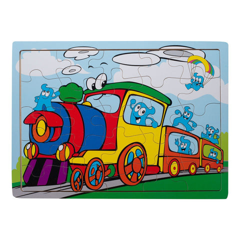 Eliiti Wooden Jigsaw Puzzle for Toddlers Boys 3 to 5 Years Old Steam Train 25 Pcs