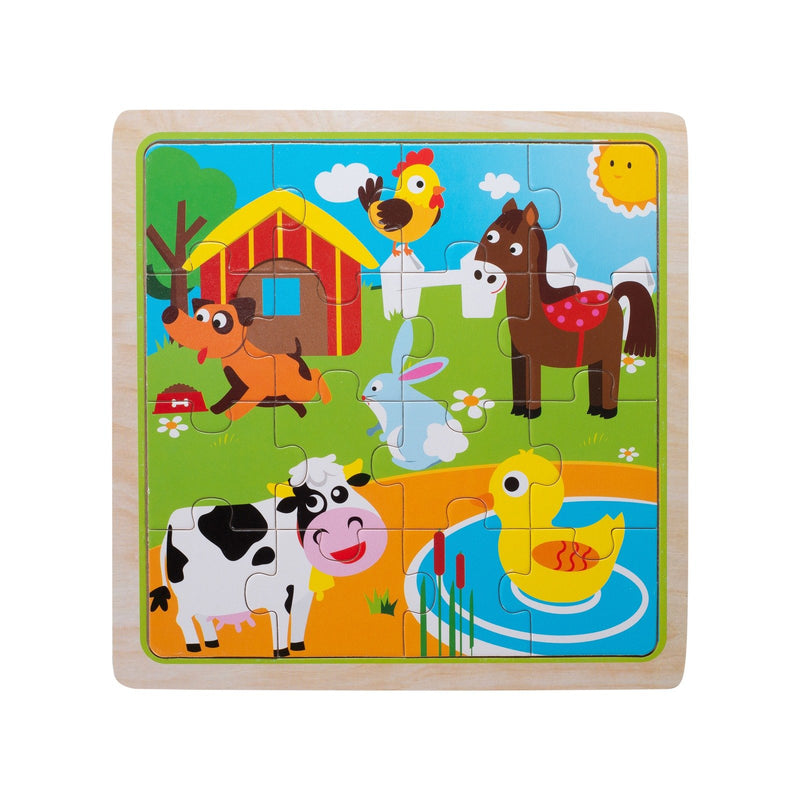 Eliiti Wooden Jigsaw Puzzle for Toddlers Kids 3 to 5 Years Old Farm Animals 16 Pcs