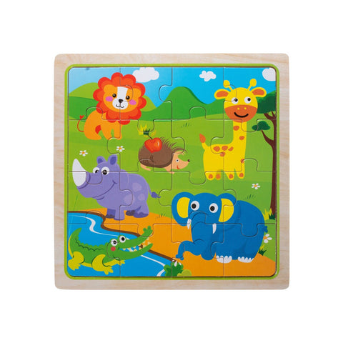 Eliiti Wooden Jigsaw Puzzle for Toddlers Kids 3 to 5 Years Old Safari Animals 16 Pcs