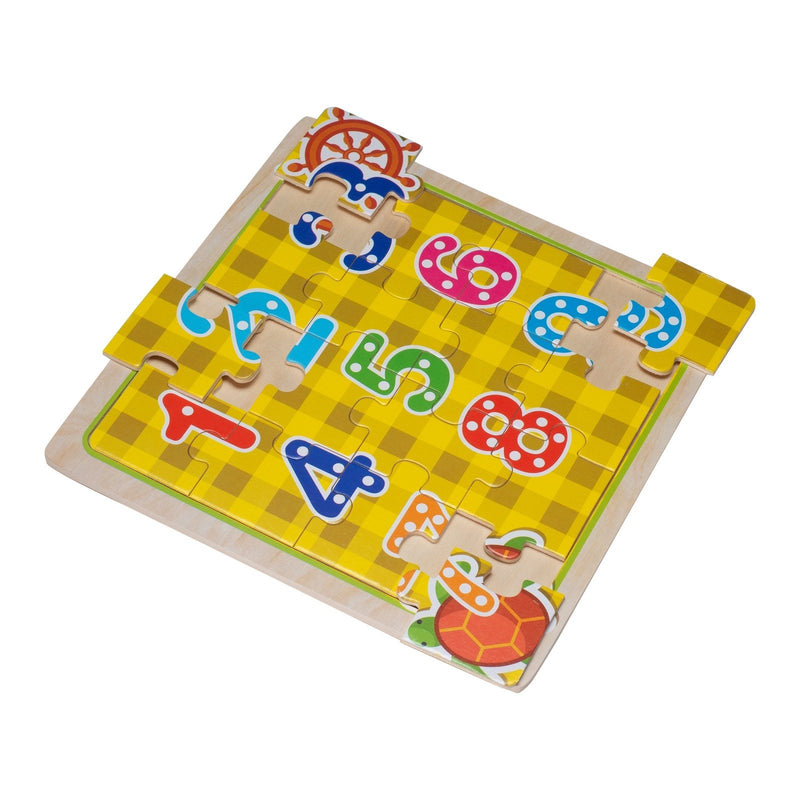 Eliiti Wooden Jigsaw Puzzle Set for Toddlers Kids 3 to 5 Years Old Alphabet & Numbers 16 Pcs