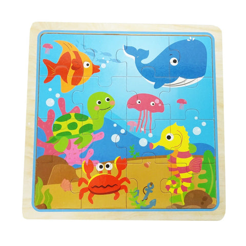 Eliiti Wooden Jigsaw Puzzle for Toddlers Boys 3 to 5 Years Old Sea Animals 16 Pcs