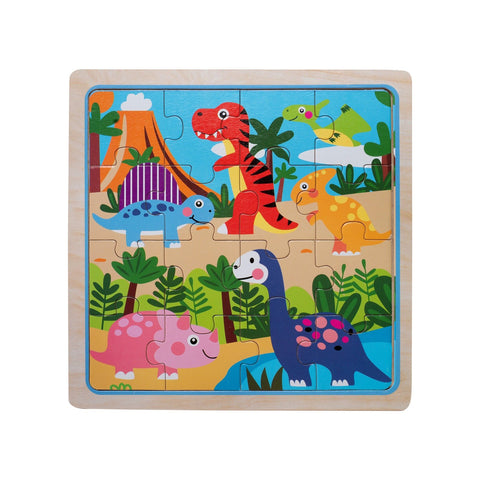 Eliiti Wooden Jigsaw Puzzle for Toddlers Kids 3 to 5 Years Old Dinosaurs 16 Pcs