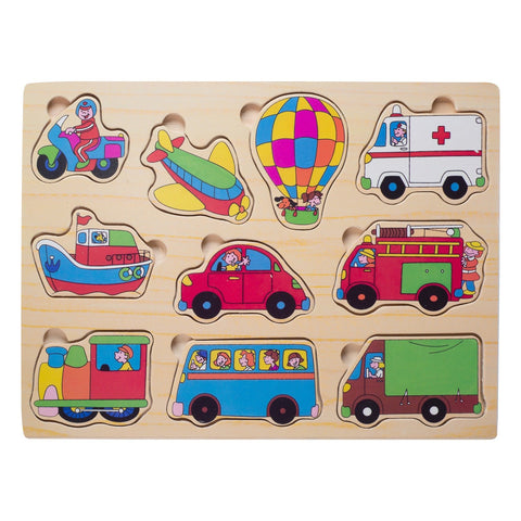 Eliiti Wooden Peg Puzzle for Toddlers Boys 2 to 4 Years Old Vehicles 10 Pcs