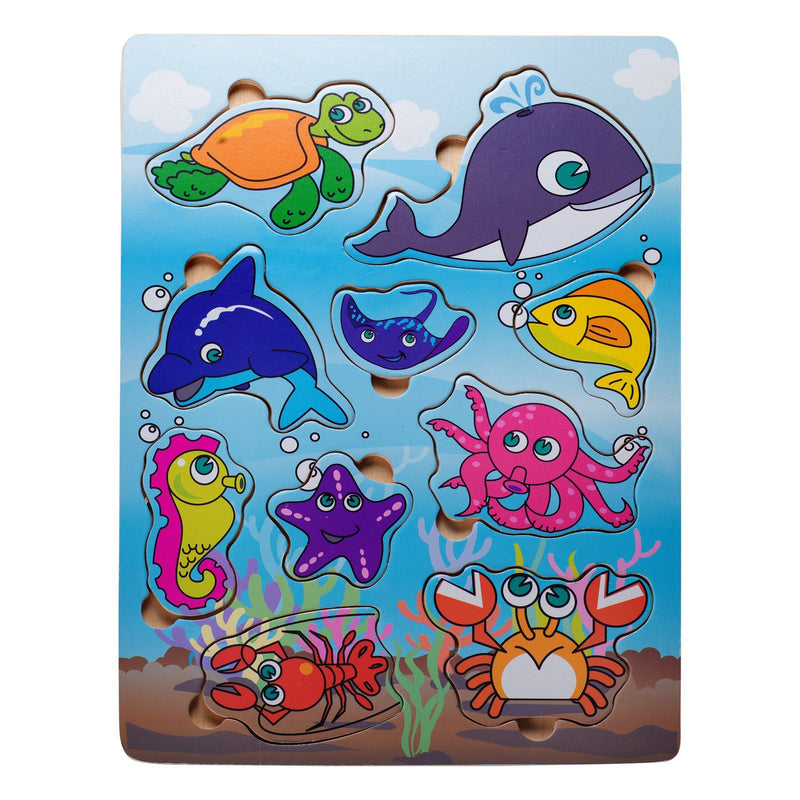 Eliiti Wooden Peg Puzzle for Toddlers Kids 2 to 4 Years Old Sea Animals 10 Pcs