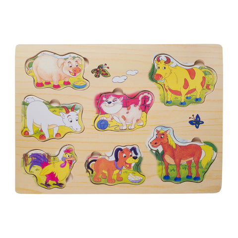 Eliiti Wooden Peg Puzzle for Toddlers Kids 2 to 4 Years Old Animals 7 Pcs