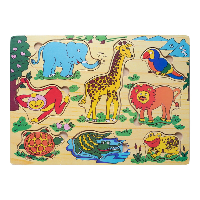 Eliiti Wooden Peg Puzzle for Toddlers Kids 2 to 4 Years Old Safari Animals 8 Pcs