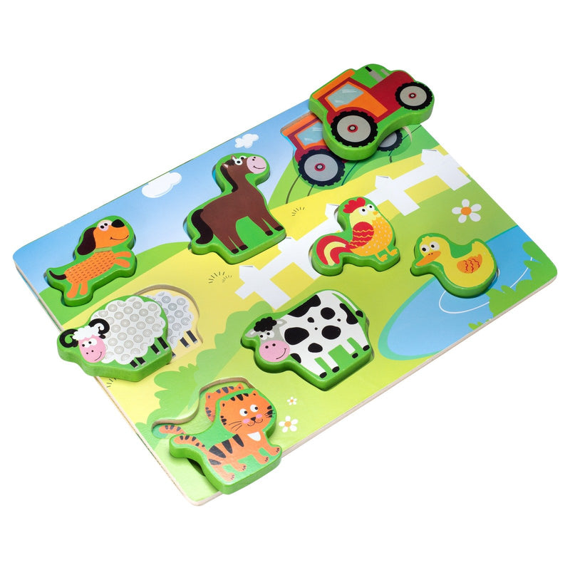 Eliiti Wooden Chunky Puzzle for Toddlers Kids 2 to 4 Years Old Farm Animals 8 Pcs