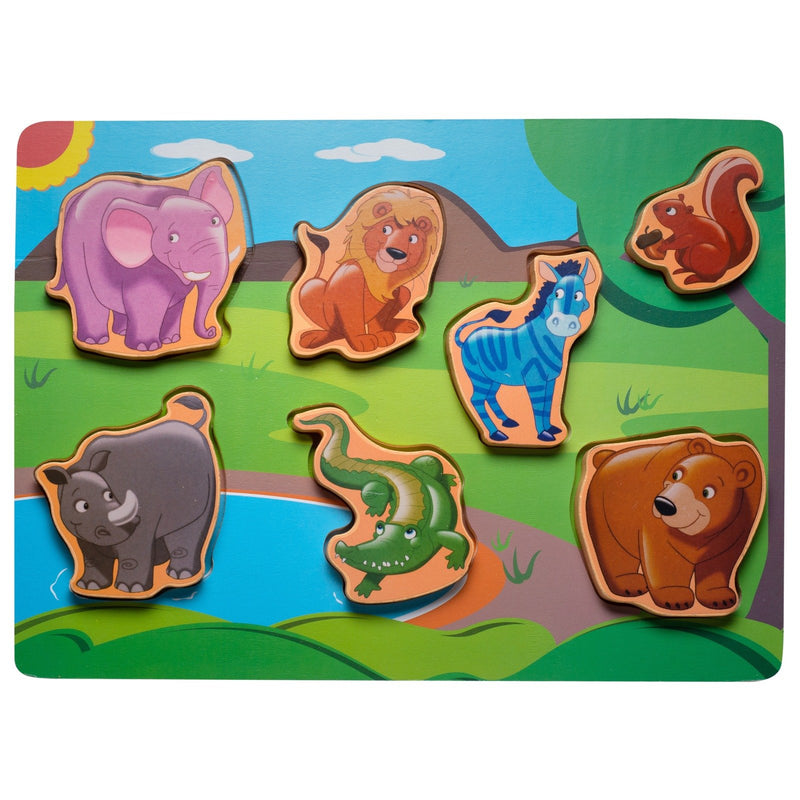 Eliiti Wooden Chunky Puzzle for Toddlers Kids 2 to 4 Years Old Safari Animals 7 Pcs