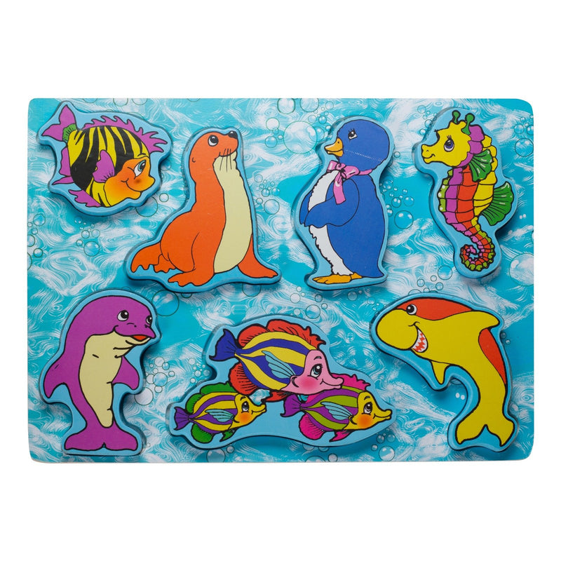 Eliiti Wooden Chunky Puzzle for Toddlers Kids 2 to 4 Years Old Sea Animals 7 Pcs