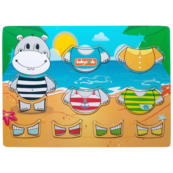 Eliiti Wooden Peg Dress Up Puzzle for Toddlers Kids 2 to 4 Years Old Hippo 10 Pcs