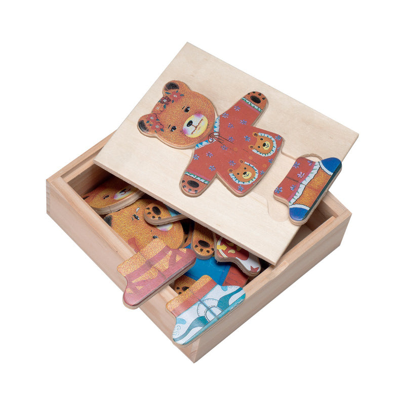 Eliiti Wooden Peg Dress Up Puzzle for Toddlers Girls Kids 3 to 6 Years Old Mama Bear 15 Pcs