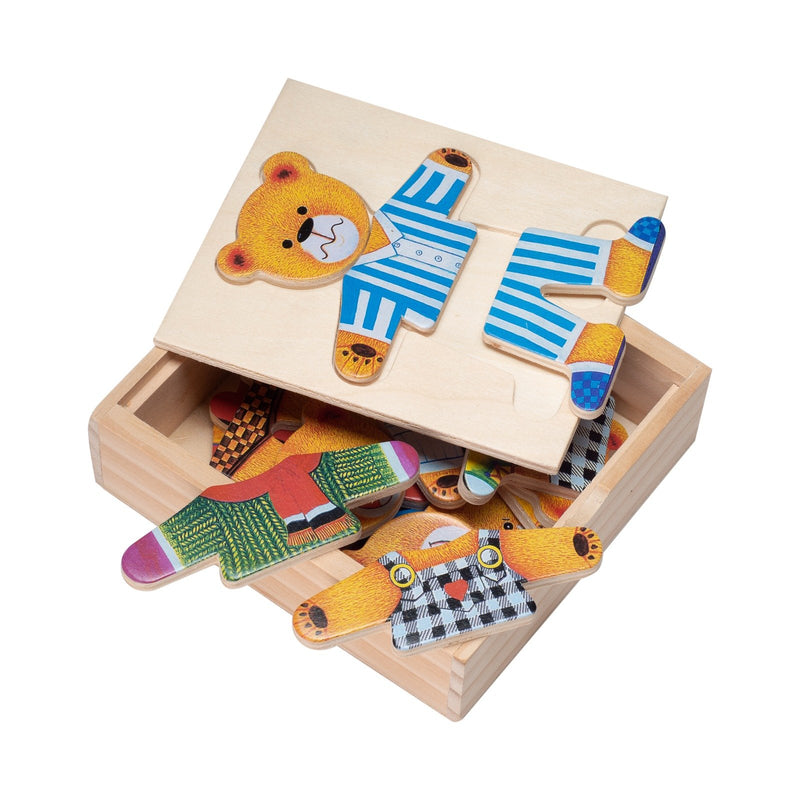 Eliiti Wooden Peg Dress Up Puzzle for Toddlers Kids 3 to 6 Years Old Papa Bear 15 Pcs