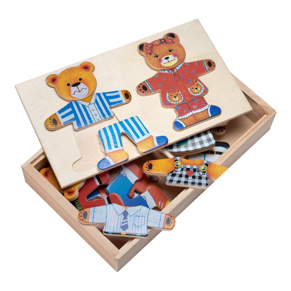 Eliiti Wooden Peg Dress Up Puzzle for Toddlers Girls Kids 3 to 6 Years Old Bears Couple 29 Pcs