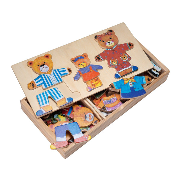 Eliiti Wooden Peg Dress Up Puzzle for Toddlers Girls Kids 3 to 6 Years Old Bears Family 45 Pcs