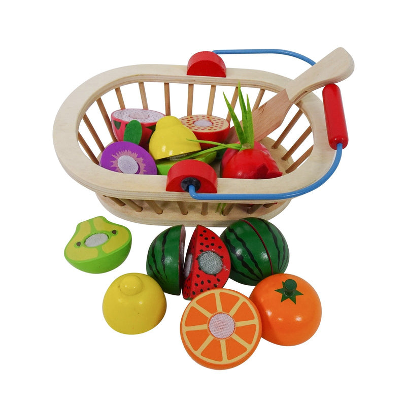 Eliiti Wooden Cutting Fruits Food Set Pretend Play Educational Toy for Toddlers Kids 3 to 5 Years Old 16 Pcs