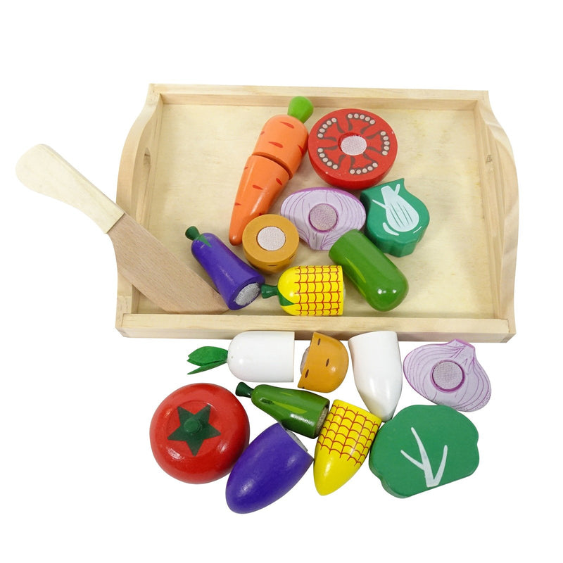 Eliiti Wooden Cutting Veggies Food Set Pretend Play Educational Toy for Toddlers Kids 3 to 5 Years Old 18 Pcs