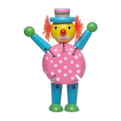 Eliiti Wooden Flexible Figures Toy for Toddlers Kids 3 to 5 Years Old Clown
