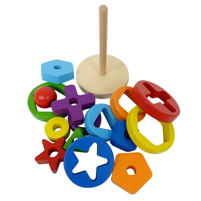 Eliiti 2-in-1 Wooden Geometric Stacking & Shape Sorting Puzzle Educational Toy for Toddlers Kids 2 to 4 Years Old 15 Pcs