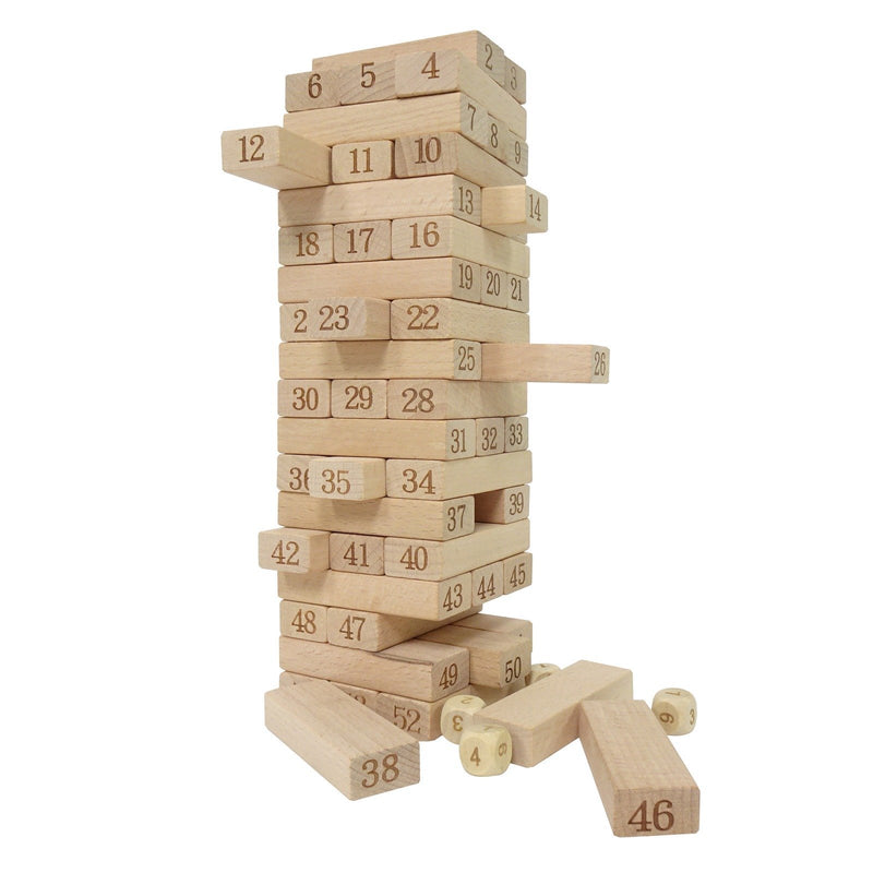 Eliiti Wooden Stacking Blocks Family Game Set with Numbers & 4 Dices 54 Pcs
