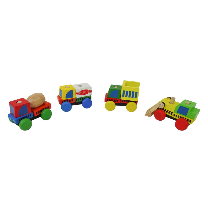 Eliiti Wooden Stacking Construction Vehicles Toy Set for Kids Boys 3 to 6 Years Old