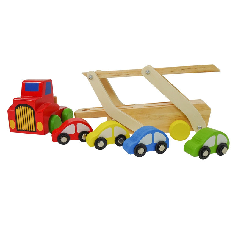 Eliiti Wooden Car Carrier Truck & 4 Cars Toy Set for Kids Boys 3 to 6 Years Old