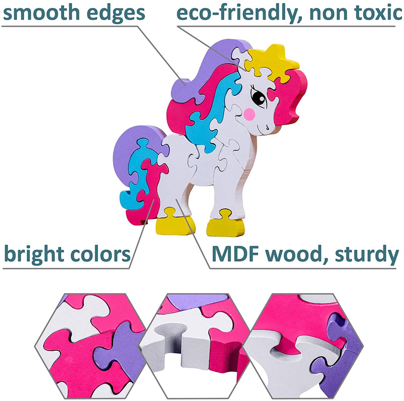 Wooden Jigsaw Puzzle Pony Preschool Learning Educational Developmental Toy Great Gift for Girls and Boys
