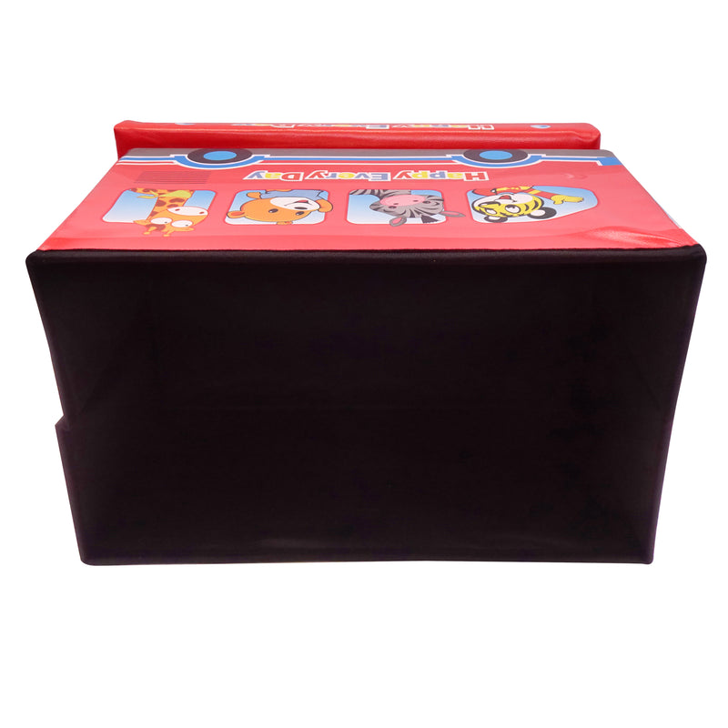 Folding Storage Ottoman Kids Room Cube Footrest Seat Stool Toy Chest With Lid Soft Padding Collapsible Lightweight
