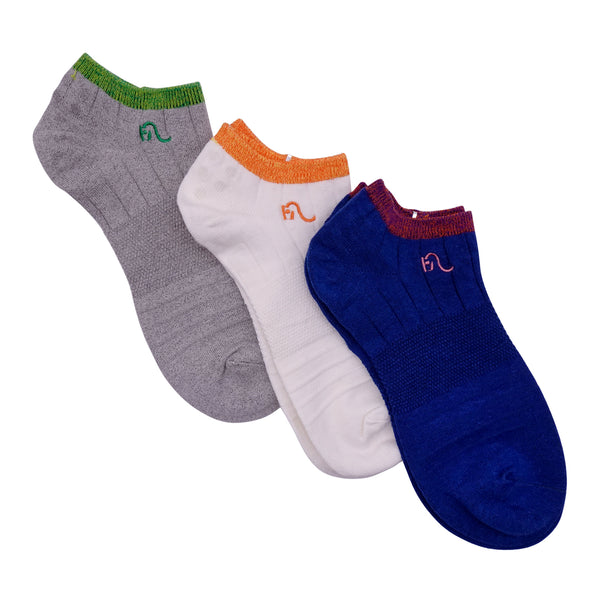 3 Pairs Hemp Socks For Women Cotton Nylon Blend Eco Friendly Casual Every Day All Seasons Use Cozy Comfy Breathable Antibacterial Grey White Blue