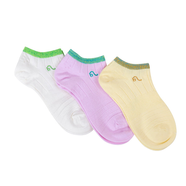 Hemp & Organic Cotton Nylon Blend Woman Size 3-6 US Socks Year Round Casual Last Longer Every Day 3 Pack Pink Yellow White Antibacterial Antistatic Hypoallergenic