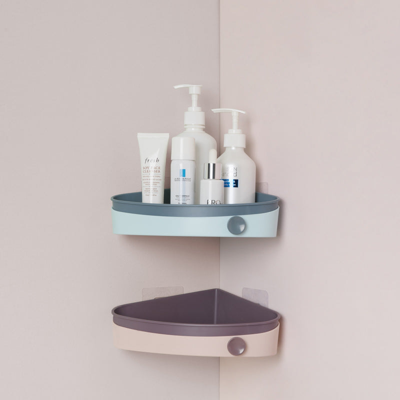 Edelvey Small Shower Caddy Corner Organizer Rack with Hook Wall Mount No Drill Adhesive