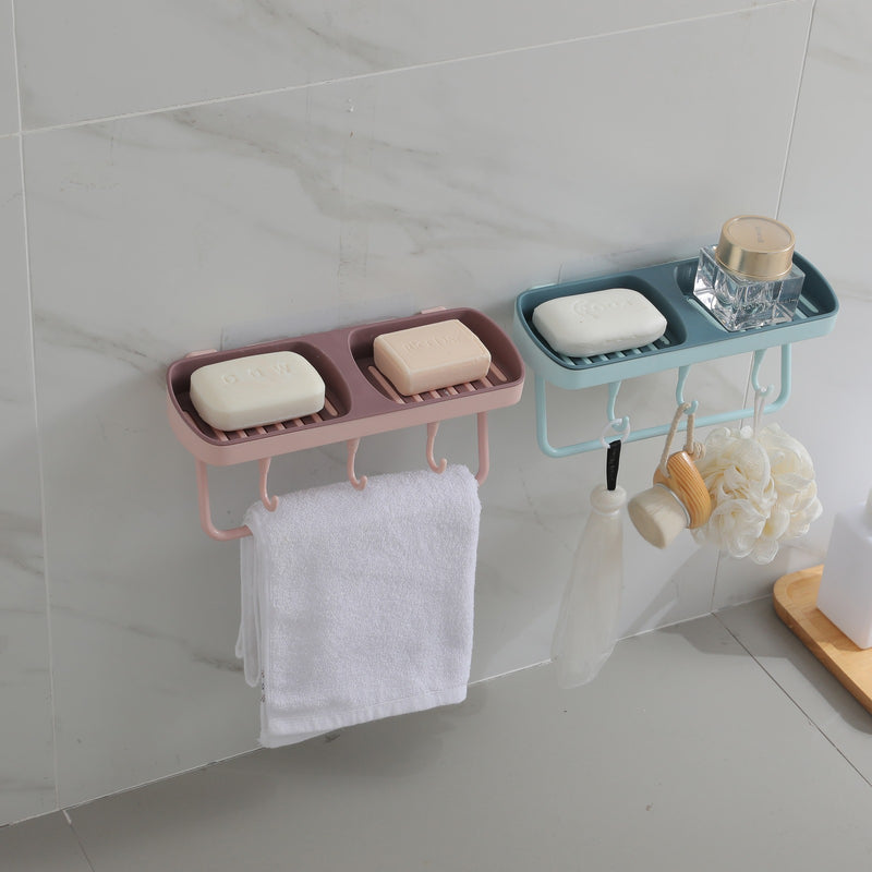 Edelvey Soap Holder for Bathroom Shower with Towel Bar and 3 Hooks Wall Mount No Drill Adhesive